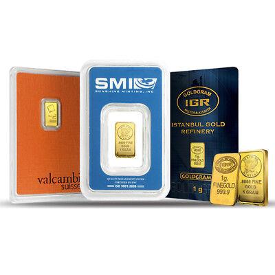 1 gram Generic Gold Bar .999+ Fine (IRA-approved, Secondary Market)