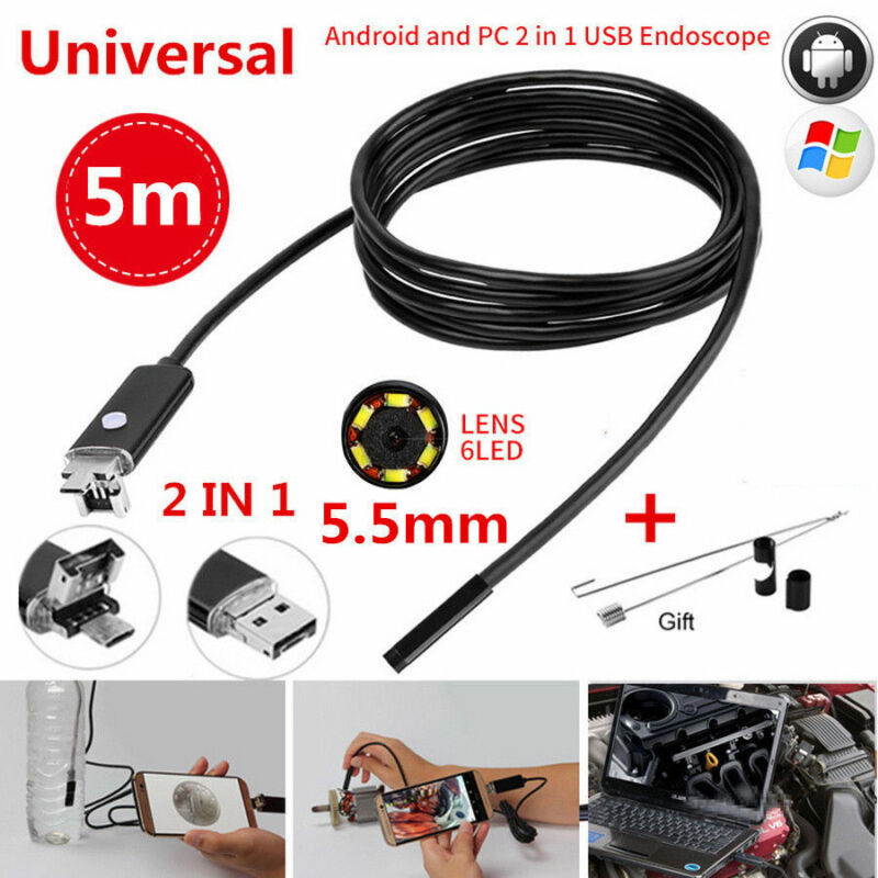 6 LED Waterproof USB Endoscope Borescope Snake Camera For Mac OS Android Windows