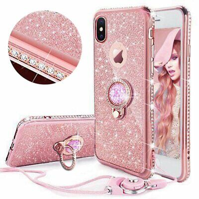 For iPhone 11 6s 6+ X 8 Plus 7 XS Max Bling Diamond Ring Holder Soft Cover Case