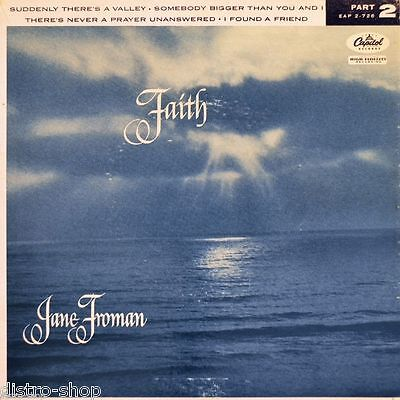 """7"""" JANE FROMAN Faith Part 2 Suddenly There's A Valley CAPITOL EP USA Gospel 1956"""