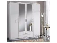 【4 DOOR 180CM WIDTH】WHITE 4 DOOR WARDROBE /// OSAKA 4 DOOR WARDROBE WITH MIRROR AND DRAWERS