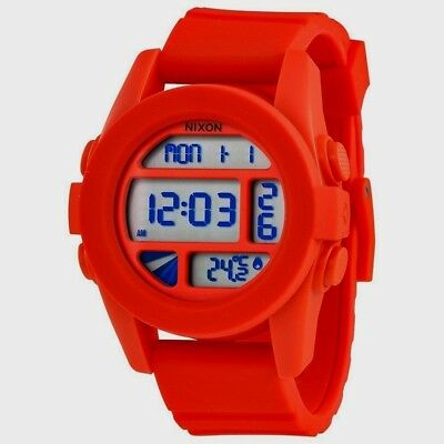 Nixon Unit Red Pepper A197383 Silicon Band Digital Temp Quartz Sport Surf  Watch