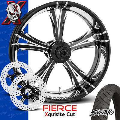 """Xtreme Machine Fierce Xquisite Cut Motorcycle Wheel Front Package Harley 26"""" PM"""