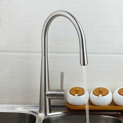 """US 16"""" Pull Out Swivel Spout Kitchen Sink Faucet Tap Mixer Brushed Nickel Finish"""