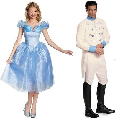 Couples Prince and Cinderella Adult Costume Disney Fairytale Disguise - Fairytale Couples Halloween Costumes