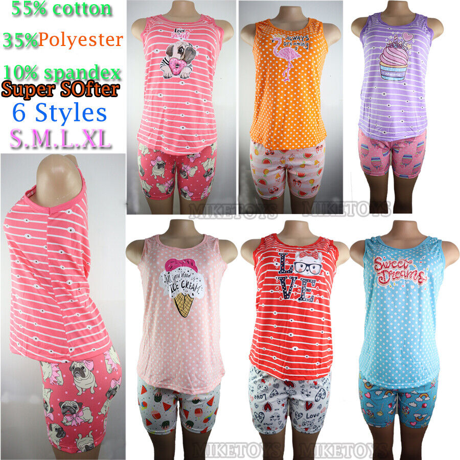 Womens Cotton Pajamas Set 2Pcs Top & Bottom Short Sleepwear