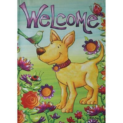 - Welcome Spring Summer Dog Flowers Butterfly 12.5