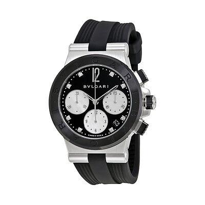 Bvlgari Diagono Black Lacquered Diamond Dial Chronograph Ladies Watch 102049