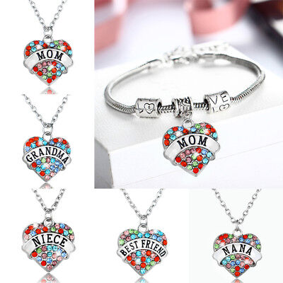 Grandma Mother Sister Pendant Charm Bracelet Family Friend Chain Necklace Heart