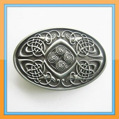 OVAL IRISH CELTIC KNOTS SILVER MEDIAVAL BELT BUCKLE