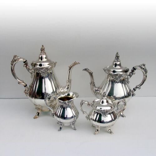 Wallace Baroque 4 Piece Tea Coffee Set Silverplate