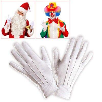 WEIßE HANDSCHUHE # Karneval Weihnachtsmann Nikolaus Zauberer Clown Kostüm 4638 ()