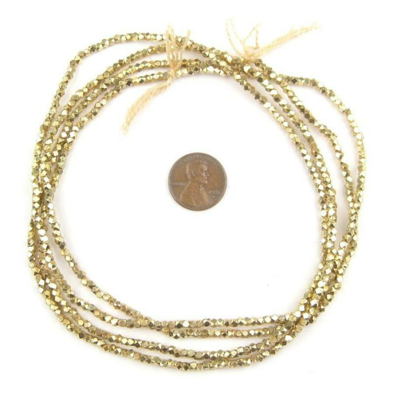 Tiny Diamond Cut Faceted Gold Color Beads 2mm Brass 24 Inch Strand