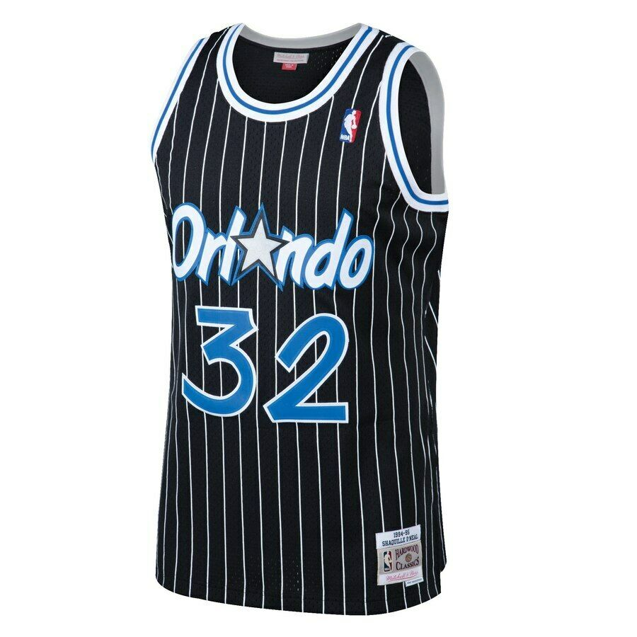 huge discount 44cc6 f854f Details about Mitchell & Ness NBA Orlando Magic #32 O'neal Black Pinstripe  Swingman Jersey