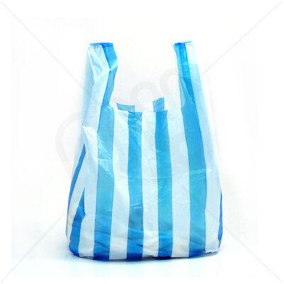 100 x MEDIUM BLUE/WHITE CANDY STRIPE Plastic Vest Carrier Bags 10