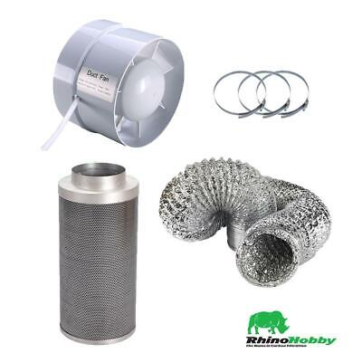 """Hydroponics Rhino Hobby Carbon Filter Kit 4"""" 100/300mm Filter Extraction Fan"""