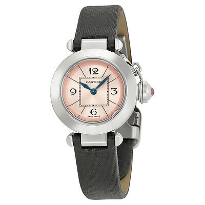Cartier Miss Pasha Pink Dial Satin Strap Ladies Watch W3140026