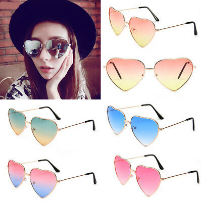 Women LOVE Heart Shaped Sunglasses Retro Metal Frame Gradient Lens Eye (Love Heart Shaped Sunglasses)