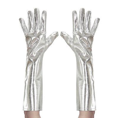 METALLIC HANDSCHUHE SILBER LANG Cosplay Cloves Fasching Disko Kostüm Party - Silber Kostüm Handschuhe