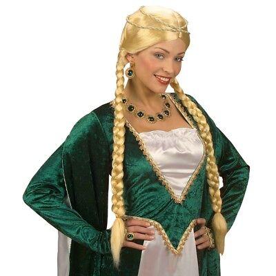 BLONDE MITTELALTER ZOPF PERÜCKE Märchen Renaissance Prinzessin Kostüm Party 0871
