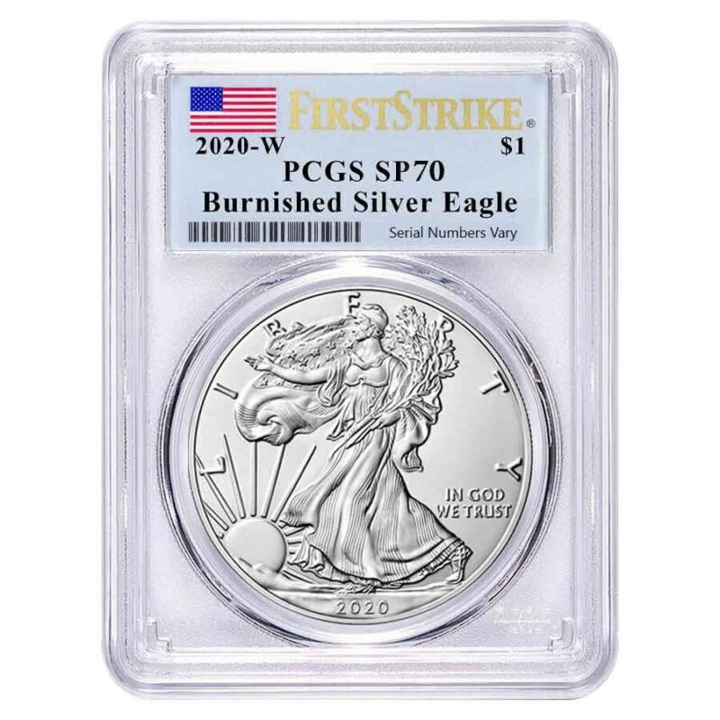 2020-W 1 oz Burnished Silver American Eagle PCGS SP 70 First Strike