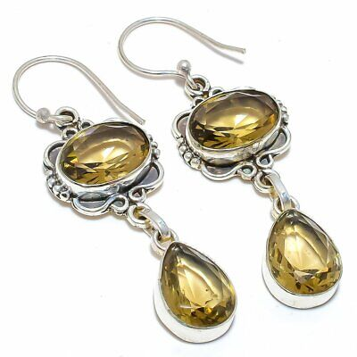 Smokey Quartz Gemstone 925 Sterling Silver Jewelry Earring 2.3 T2994 - $1.26