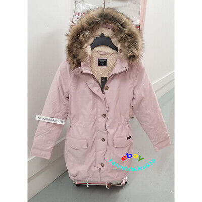 ABERCROMBIE & FITCH WOMENS SHERPA MILITARY PARKA JACKET COAT LIGHT PINK SIZE S,M