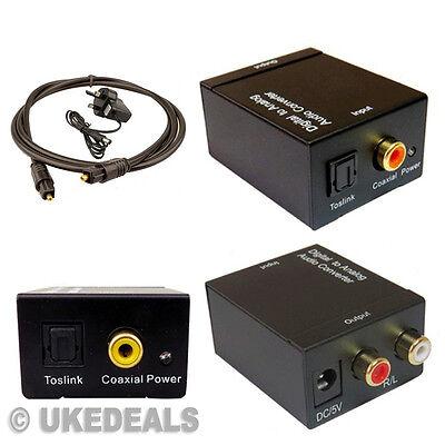 Converter Adapter Digital Optical Coax Toslink Signal to Analog Audio RCA R/L UK