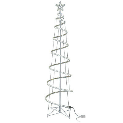 White LED 7' Spiral Christmas Tree GE Yard Outdoor Decoration Lighted Pre-Lit ()