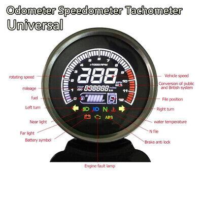 Universal Motorcycle LCD Digital Odometer Speedometer Tachometer Gauge Meter 12V