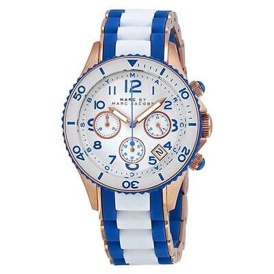 Marc Jacobs MBM2594 Rock 40MM Women's White Blue Stainless Steel Silicone Watch