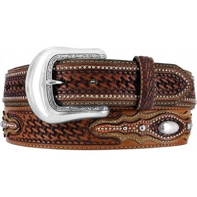 Tony Lama Western Mens Belt Leather Classic Studded Weave Conchos Brown C41804