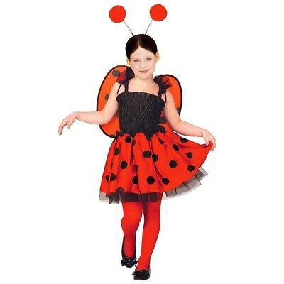 KINDER MARIENKÄFER KOSTÜM Mädchen Käfer Kleid Flügel Fühler Haarreif - Käfer Kostüm Kind