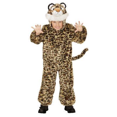 LEOPARDEN PLÜSCHKOSTÜM Kinder Tiger Katze Plüsch Kostüm Jungen Mädchen 98 (Tiger Kostüm Jungen)