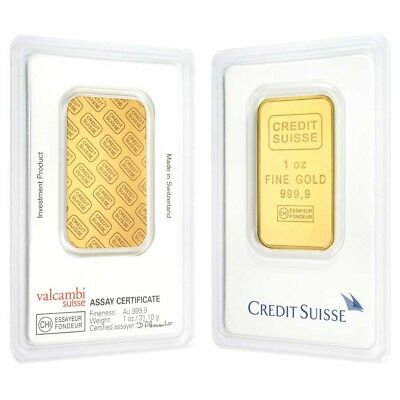 1 Oz Credit Suisse Gold Bar  9999 Fine  In Assay