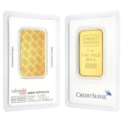 1 oz Credit Suisse Gold Bar .9999 Fine (In Assay)