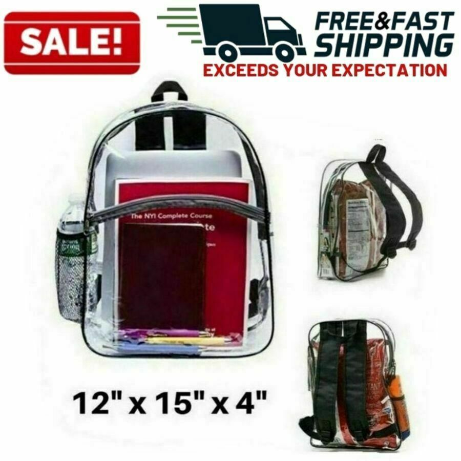 Large Heavy Duty Clear Backpack Transparent  Bookbag Office