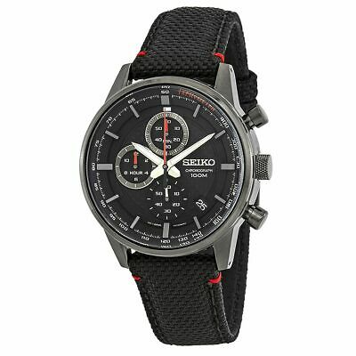Seiko Men's Chronograph Black Dial Black Nylon Watch - SSB315P1 NEW