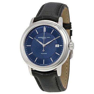 Raymond Weil Maestro Automatic Blue Dial Black Leather  Mens Watch