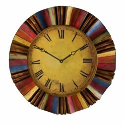 Colors Large Oversized 30 Metal Multicolored Design Huge Round Wall Clock - NEW