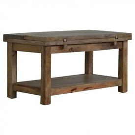 Extending Rustic Solid Hardwood Coffee Table