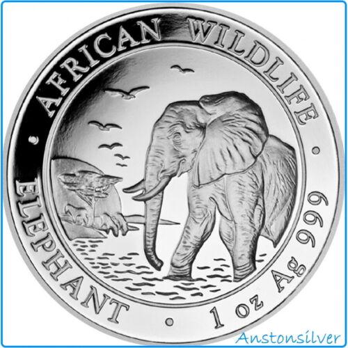 2010 Somalia Elephant BU Encapsulated - 1 oz .999 Silver