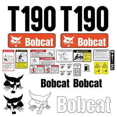 Bobcat T190 Skid Steer Set Vinyl Decal Sticker - 25 Pc