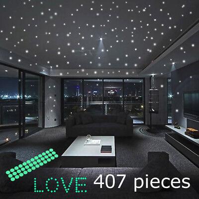 Glow In The Dark Stars Round Wall Stickers 407 Dots for Ceiling in Bedroom US (Glow In The Dark Stars Stickers)