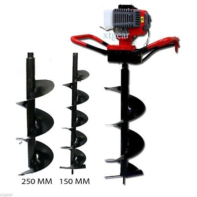 """52cc GAS POWER EARTH ONE MAN POST FENCE ICE HOLE DIGGER W/3 DRILL BITS 4"""" 6"""" 10"""""""