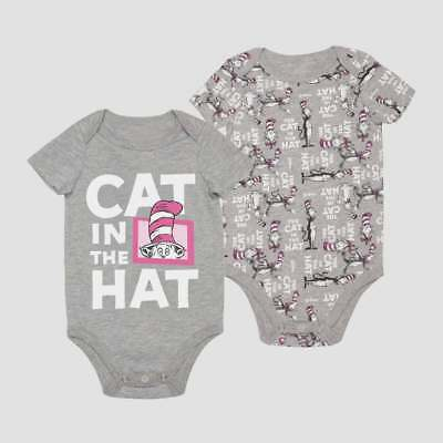 DR SEUSS CAT IN THE HAT PINK BABY 2 PACK CREEPER SET SIZE NB 0/3 3/6 6/9 12 18 2](Dr Seuss Baby)