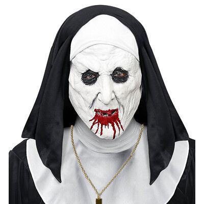 DIE NONNE HORROR MASKE Latexmaske + Haube Scary Nun Halloween Kostüm Party 03291