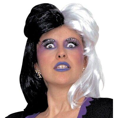 HEXENPERÜCKE SCHWARZ WEIß Halloween Hexen Hexe Perücke Damen Kostüm Zubehör 6089