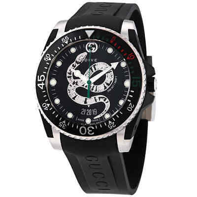 Gucci Dive Quartz Snake Black Dial Men's Watch YA136323