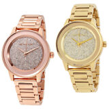 Michael Kors Kinley Crystal Pave Dial Rose Gold / Gold Ladies Watch